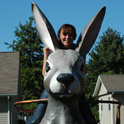 The route is loaded with odd things to see, meet or climb. Why would anyone climb a huge rabbit? Of course to take a picture of themselves. Staunton, IL.