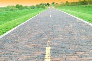 2 lane brick road